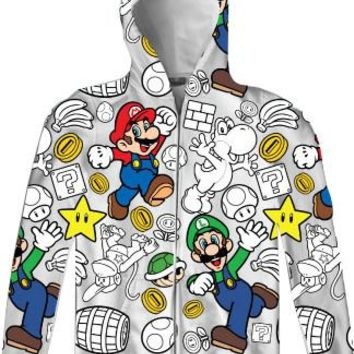 Nintendo Super Mario Luigi Allover Mens Zip-Up Adult Hooded Sweatshirt Hoodie - Nintendo - | TV Store Online