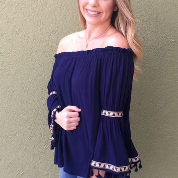 Tribal Top- Navy