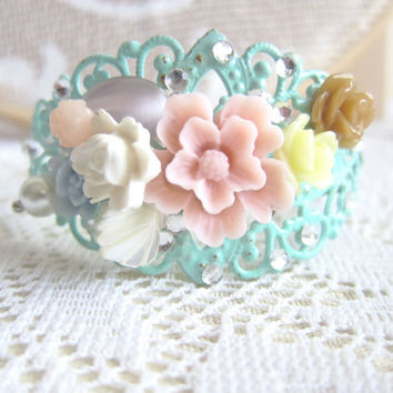 Mint Green Bracelet Wedding Bridal Corsage Floral Flower Collage Shabby Chic Vintage Lace Dreamy Pink Cream Ivory Mint Green