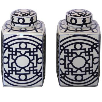 Contemporary Blue and White Ginger Jars