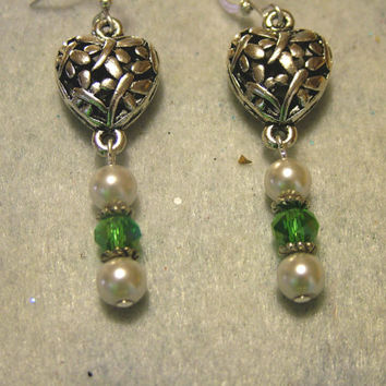 Earrings, Puffed Filigree Silver Metal With Czech Beads and Glass Pearls, Handmade