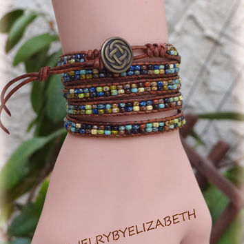 Hand Crafted Seed Bead Leather Wrap Bracelet, Multi Color Seed Bead Leather Wrap Bracelet.