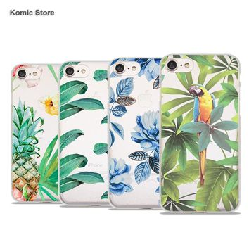 Tropical Banana Leaf rose bird design clear hard phone Cases cover for Apple iPhone 8 6s Plus 7s 7Plus SE 5 5s 5c