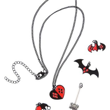 Licensed cool DC  Harley Quinn Interchangeable 5 Charm Necklace Heart Mallet Logo Hat