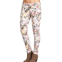Stone/Floral Printed Skinny Jeans