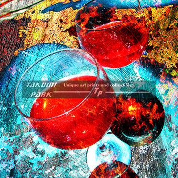 Creative Wine Art Print, Colorful Kitchen Wall Art Print, Dining Room Wall Decor, Gift For Wine Lover, Photo Print, Unique Wine Artwork