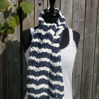 White and denim blue chevron chenille scarf, handmade scarf, crochet scarf ready to ship!