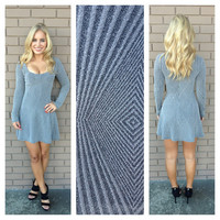 Silver Long Sleeve Diamond Skater Dress