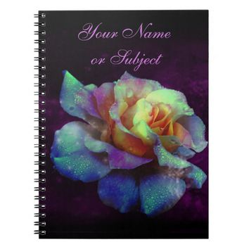 Purple Kissed Turquoise Rainbow Rose Notebook