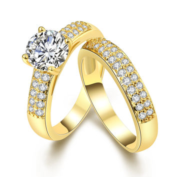 Crystal Jewelry Promise Double Rings For Couples Men Women Gold Colour Pairs Wedding Rings Set for Men and Women