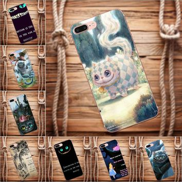 Vvcqod Soft TPU Covers Case For iPhone X 4 4S 5 5C 5S SE 6 6S 7 8 Plus For Moto G G2 G3 Lovely Cheshire Cat Alice In Wonderland