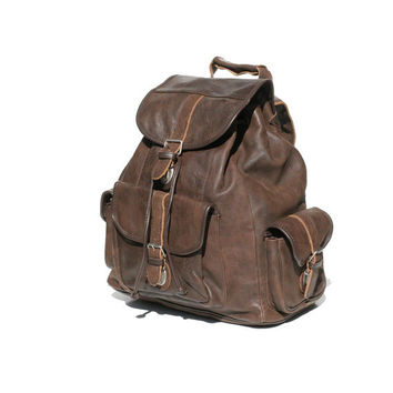 Dark Brown Leather Backpack Bag