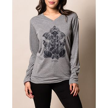 Ganesh Tri-Blend Long Sleeve Unisex Tee