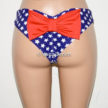 American Flag Scrunch Bow Bikini Bottom, Cheeky Hips Bikini Bottom, Brazilian Bikini Bottoms, Fully Lined Scrunch Butt Bikini Swimsuit