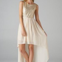 Beige Sleeveless Hi-Lo Dress with Sequin Top