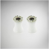 Black Pink Floral Cz Plug Set - Spencer's