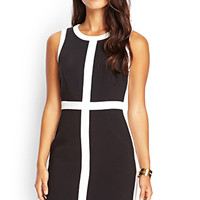 LOVE 21 Mod Colorblocked Sheath Dress Black/Ivory