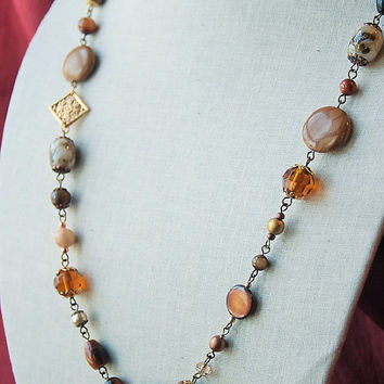 Handmade Long Brown Necklace Brown Beaded Necklace Long Beaded Necklace Gold Necklace Brown Gemstone Necklace Tigerskin Jasper Necklace