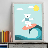 Print poster, nursery decor, nursery wall art, nursery poster, kids poster, kids room, polar bear, happy sumer time, surfing on the waves