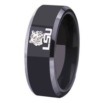 Black With Shiny Edges LSU Tigers Tungsten Mens Ring