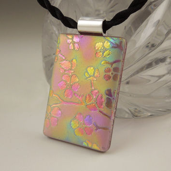 Dichroic Fused Glass Pendant - Fused Glass - Dichroic Glass Rainbow Pendant - Etched Glass - Zen - Zentangle - Dichroic Jewelry X3281