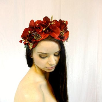 Red and Gold Flower Crown, Christmas Winter Flower Wreath, Red Flower Headpiece, Bohemian Headpiece, Bridal Headpiece, Flower Girl, Circlet