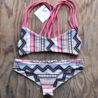 khongboon swimwear - centre reversible criss-cross full-cut handmade bikini