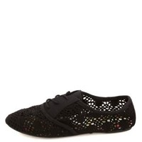 Lace-Up Crochet Oxfords by Charlotte Russe - Black