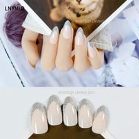 Fashion french fake nails silver powder artificial press on tips 24Pcs nude color