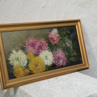 English antique floral shabby chic oil painting - original antique oil painting - floral still life oil painting - French interior design