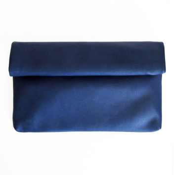 Leather Roll Clutch - Navy Blue
