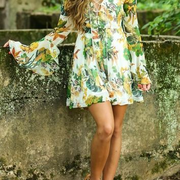 Multicolor Bohemian Floral Cut Out Backless Draped Lace-up Boho Chiffon Mini Dress