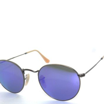 RAY BAN SunglaSSeS 3447 BRUSHED BRONZE/VIOLET MIRROR 167/1M ROUND Rayban