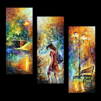 "Aura of Autumn (Set of 3 paintings) — PALETTE KNIFE(3) Oil Painting On Canvas By Leonid Afremov Size: 16"" x 40"" Each (40cm x 100cm)"