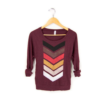 Geo Chevron HAND STENCILED Slouchy Tri Blend Heather Deep Scoop Neck Lightweight Sweatshirt in Fire and Heather Cranberry - Women's S M L