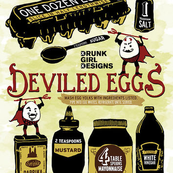Illustrated Recipe Deviled Eggs 11x14 Print by DrunkGirlDesigns