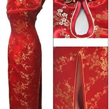 7Fairy Women's Vtg Asian Red Long Chinese Wedding Dress Cheongsam Size 6 US
