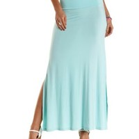 Mint Double Side Slit Maxi Skirt by Charlotte Russe