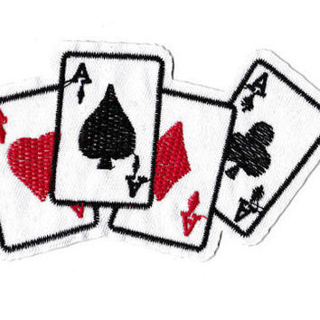 Vintage Style 4 Aces Poker Playing Card Patch 12cm