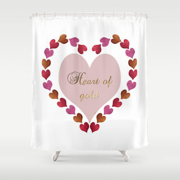 HEART OF GOLD IN METAL AND GLITTER Shower Curtain by Heaven7