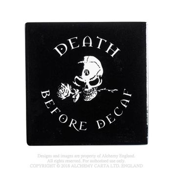 Alchemy Gothic Death Before Decaf Coaster Skull w/ Rose Home Decor