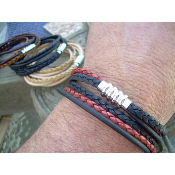 Mens Leather Bracelet, Stainless Steel Magnetic Clasp, Double Wrap Bracelet, Fathers Day Gift, Mens Bracelet, Mens Jewelry, Groomsmen