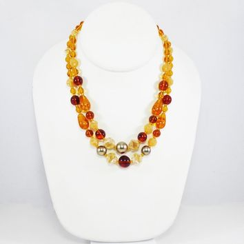 German Glass Beaded Necklace, Amber Tone Golden Round Ball Pear and baroque, Double Strand Beads West Germany Vintage 1950s European Jewelry