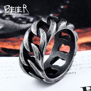 Beier 316L Stainless Steel Gothic Personality Chain Ring Man Goth  Fashion 2017 Men's Accessories  LR175