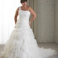 Lace and Organza Wedding Dress Mermaid Silhouette Pleated Bodice One Shoulder Cascading Ruffles Plus Size Wedding Dress/Gown YSP1217 - Wedding Dresses - Wedding Apparel