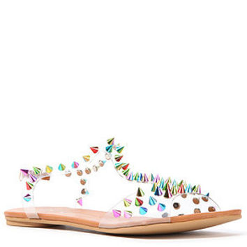 Jeffrey Campbell Sandal Puffer in Clear Rainbow