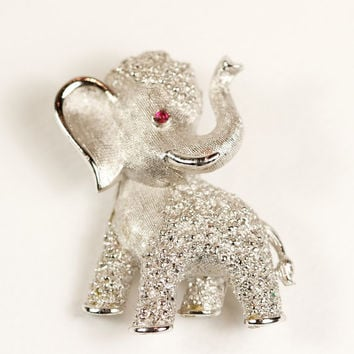 Vintage Crown Trifari Elephant Brooch by TwiceBakedVintage on Etsy
