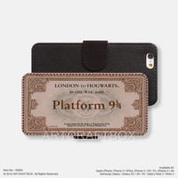Platform train ticket London iPhone leather wallet cover iPhone case Samsung Galaxy case 064