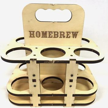 Home Brew Wood 6-Pack Carrier