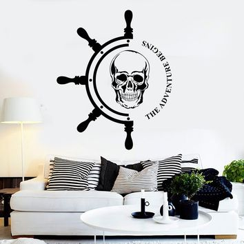 Vinyl Wall Decal Ship Steering Wheel Nautical Pirates Art Sailor Stickers Unique Gift (ig2791)